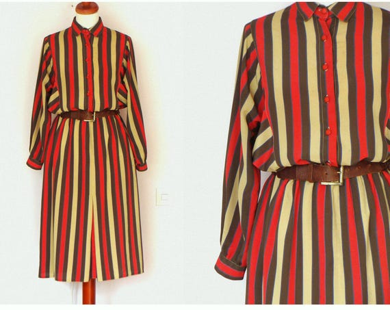 Vintage Button Up Striped Long Sleeve Collared Dress / size M