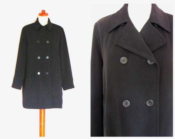 Vintage Dark Navy Double Breasted Short Trench Coat / Spring Coat / Oversized / size 10