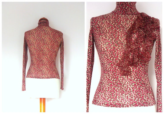 Vintage 90's MORGAN Animal Print Polo Neck / Long Sleeve Tight Stretch Top / size S-M