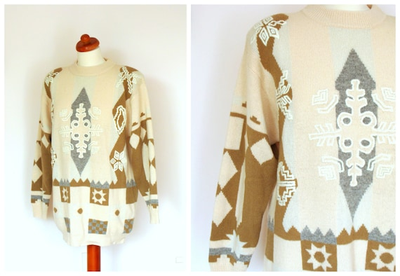 Vintage Embroidered Aztec Print Wool Pale Pink Jumper / Winter Long Oversized Sweater  / size S-L