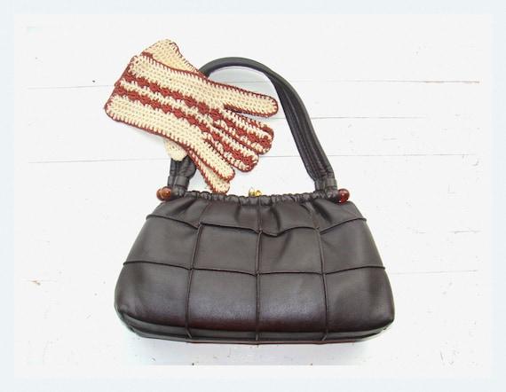 Vintage 50's / 60's small dark brown handbag / faux leather / vegan handbag