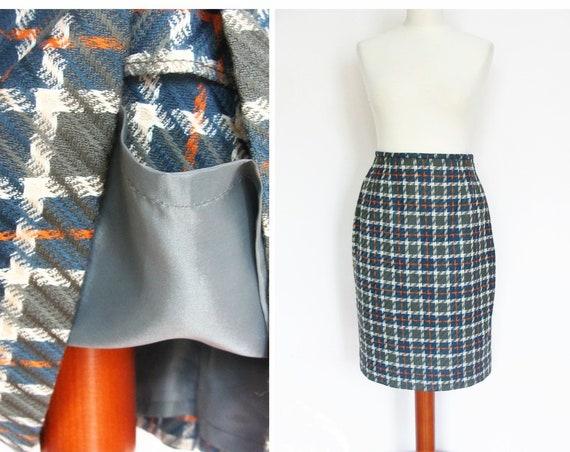 Vintage Tartan Plaid Wool Pencil Skirt Wool High Waisted / size UK 10