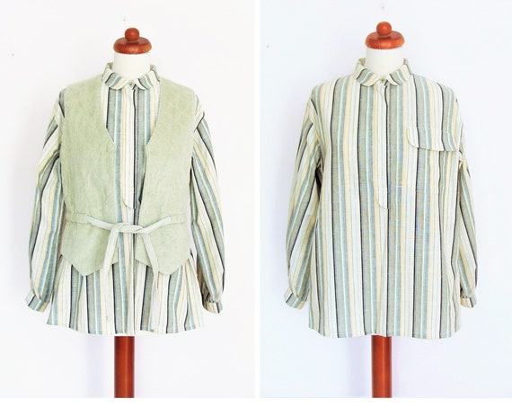 Vintage 1970's Striped Cotton Peter Pan Collar Blouse / Size 38