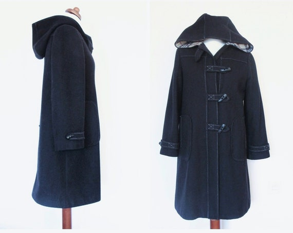 Vintage Blue Wool Duffle Hooded Mod Winter Coat / size 36-38