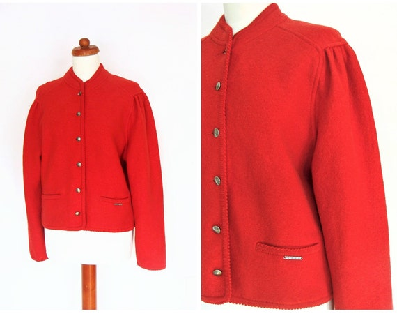 Vintage Geiger Red Boiled Wool / Knit Jacket Cardigan Tyrol / Size 38