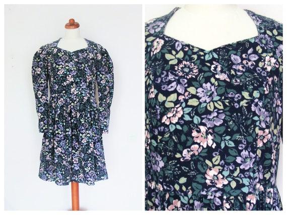 Laura Ashley Vintage Corduroy Multicoloured Floral Tea Dress / Size M