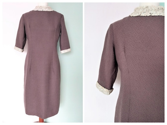 Vintage Plum Woolen Pencil Dress / Size M