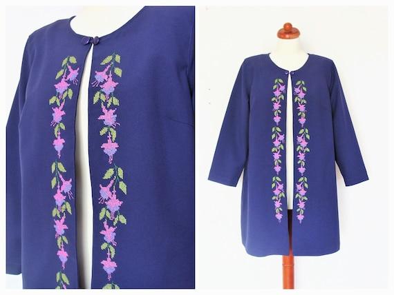Vintage Handmade Embroidered Purple Spring / Summer Formal Coat / size M