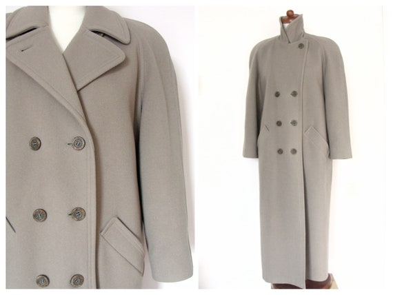 Vintage Taupe Wool Long Double Breasted Oversized Winter Coat / Size M
