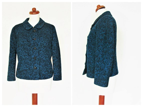 Vintage Eastex 1960's Black & Teal Blue Wool Jacket / Size EU 38