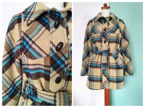 Vintage 60's Tartan Plaid Wollen Mod Coat