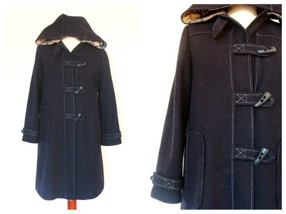Vintage Blue Wool Duffelcoat Hooded Mod Winter Coat / size 36-38