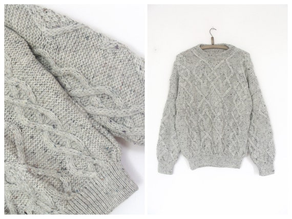 Vintage Cable Light Gray Wool Aran Sweater / Unisex Size L