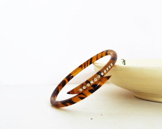 1930's Deco Celluloid Rhinestone Wrap Snake Bracelet / Tortoise Bangle