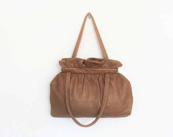 1940's / 1950's Leather Taupe Brown Handbag Twin Handle Purse