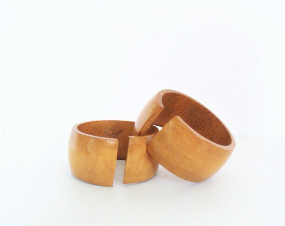 Vintage Set of Two Handmade Splitted Wooden Bangles / Chunky Bangle