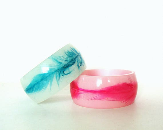 Vintage Set of Two Pink & Green Father Inlay Design Lucite Summer Bangles