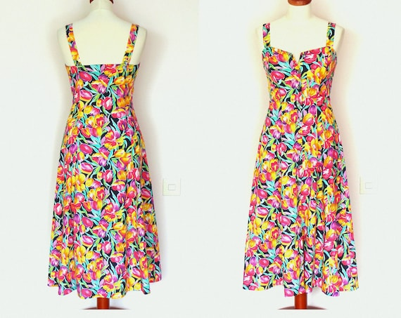 Vintage Summer Floral Multicoloured Button Down Maxi Dress / Tea Dress  / Romantic / Boho / Grunge / Size S