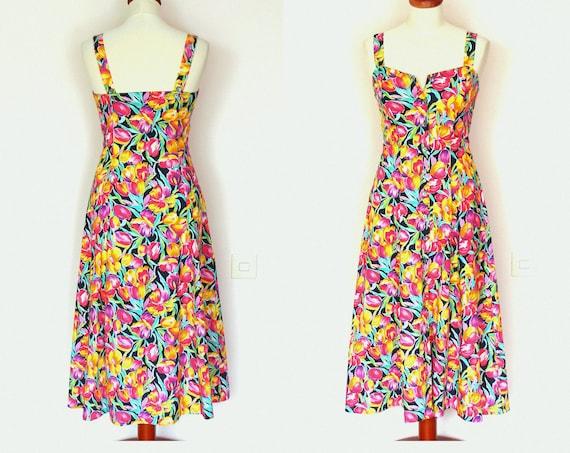 Vintage Summer Floral Multicoloured Button Down Maxi Dress / Tea Dress  / Romantic / Boho / Grunge / Size S