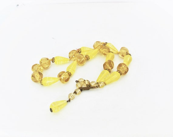 Mid-Century Yellow Glass Bead Necklace