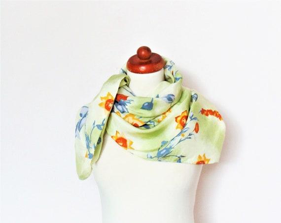 Vintage Pastel Colored Floral Silk Scarf
