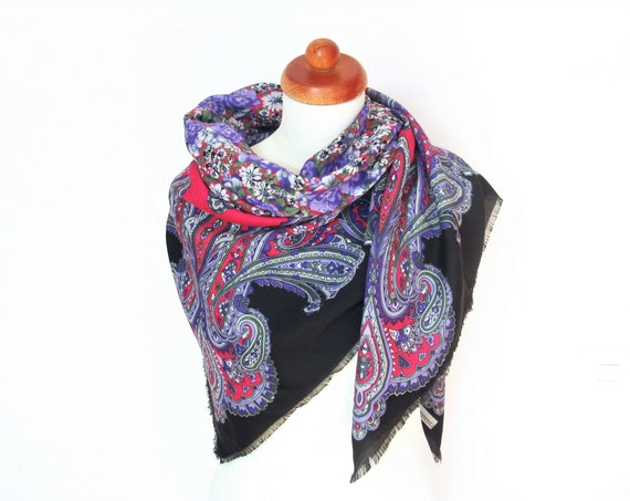 Franco Laurenti Large Paisley Floral Winter Scarf