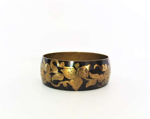 Vintage Brass Black Bangel / Hippie / Boho / Ethnic / Handmade Bangle