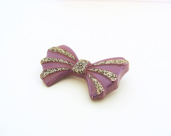 Pretty Mid-Century Purple Glitter Lucite Bow Brooch