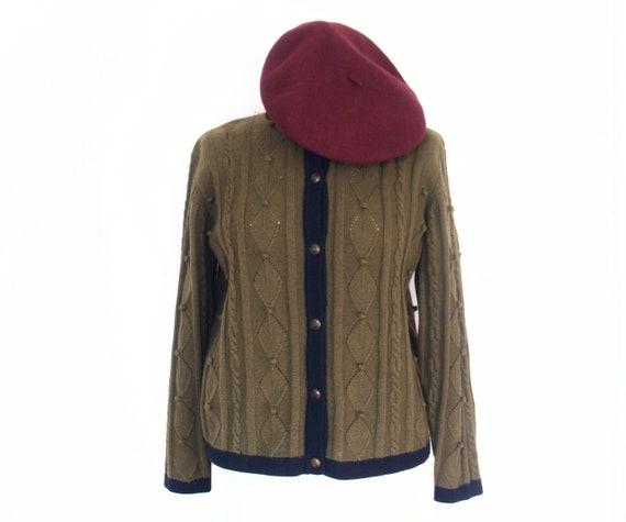 Vintage  Olive Green Navy Wool Cardigan  / Folklore size 38