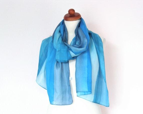 Vintage Pastel Blue Silk Shawl Scarf
