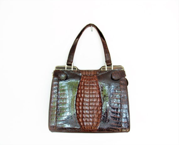 Vintage 60's Dark Brown Real Leather Croc Handbag / Reptile Purse