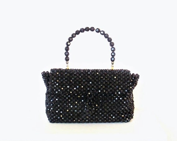 1940's Evans Black Beaded Evening Bag / Purse / Single Handle