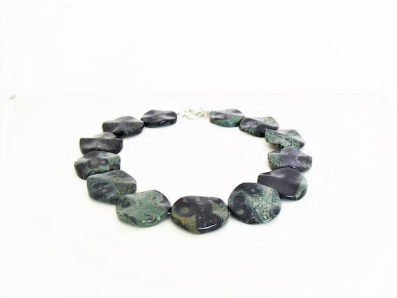 Handmade Kambaba Jasper, Crocodile Stone Nacklace