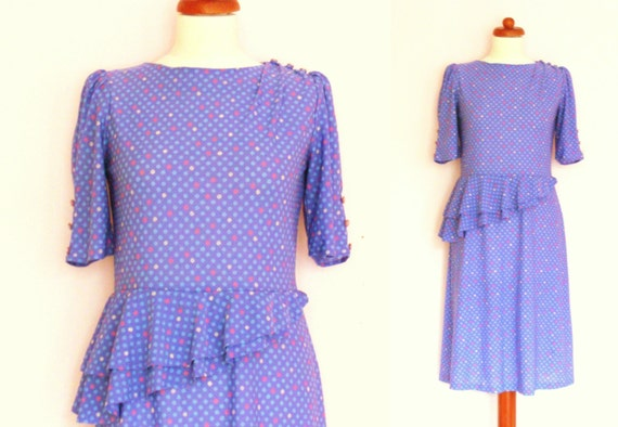 Sale! Lovely Vintage Spotted Lilac Peplum Dress / size UK 8-10