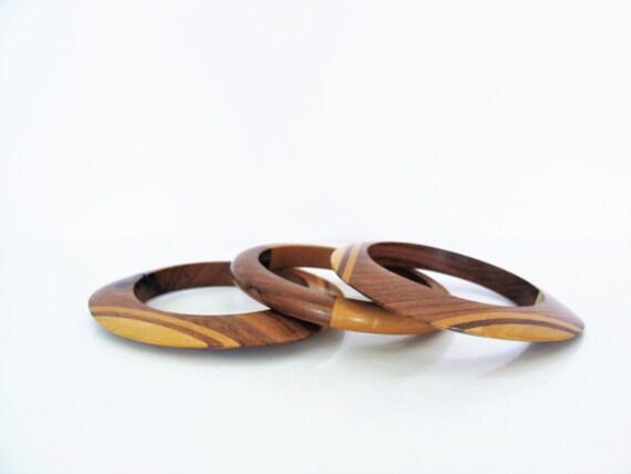 Vintage Handmade Wooden Bracelets / Bangles Rockabilly / Hippie Boho