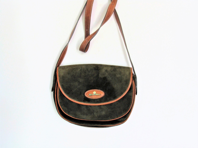 54bfa5d92f Vintage Etienne Aigner Army Green Suede Leather Cross Body Shoulder    Satchel Bag