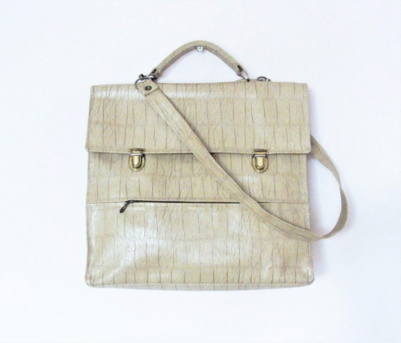 Vintage French Beige Hand / Shoulder Faux Leather Bag / Mod