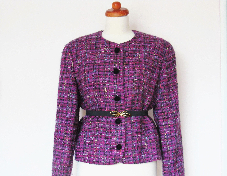 60s Vintage Mohair Boucle Jacket Short Sleeve Jacket Medium Large Neon Orange Pink Vintage Mohair Wool Jacket with short sleeves Jackie O