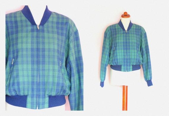 Vintage 80's Unisex Tartan Plaid Bomber jacket / Zip Up Jacket / Spring Summer / Green Navy Check / Size EU 38