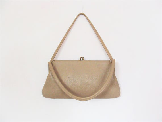 Vintage 50's Faux Leather Taupe Handbag Purse / Twin Handle