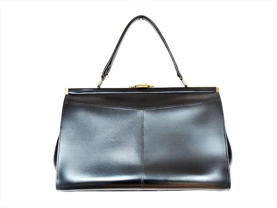 Vintage French Large Black Handbag / Purse Faux Leather Vegan Bag