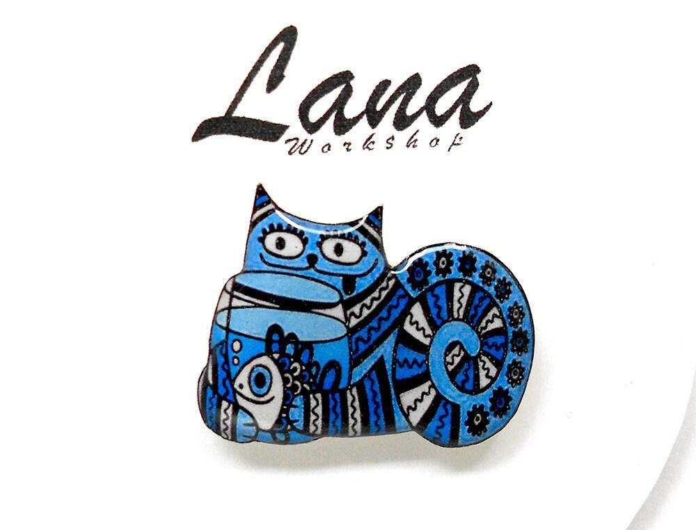 Katze katzenbrosche, pin Tier Brosche, blau Tier Schmuck, blaue Katze Schmuck Ton Katze, Ton Stift Katze mit Fisch Katze aquarium