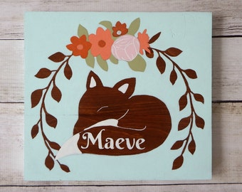 Fox personalized baby name sign - name sign nursery - woodland nursery decor- personalized baby gift - name plaque - rustic nursery decor -