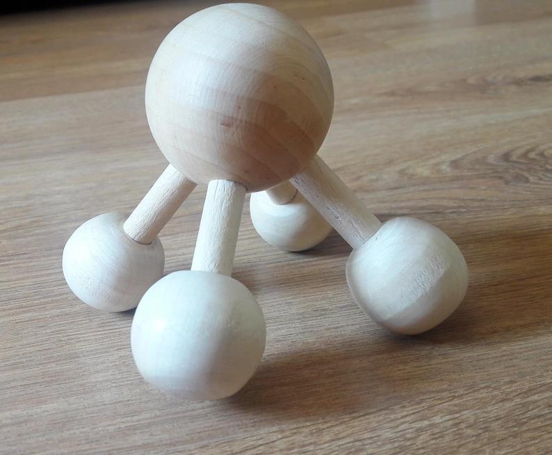 Ukrainian Handmade Wooden Handheld Roller Acupressure Massager For Head Back Body Reflexology Tools Pain Stress
