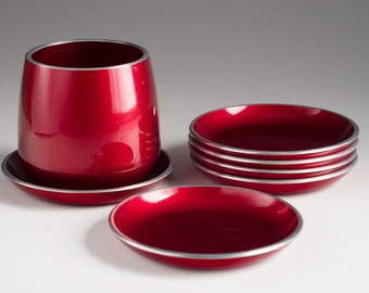 Emalox, Norway - Six coasters or ash trays and one cup - originaly a smoking set