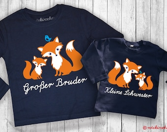 SIBLINGS Set FOXES Big Brother/Sister | Little brother/sister | Sibling shirts | Festive | Photo shoots, family birth