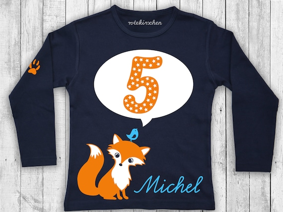 Birthday shirt FUCHS | Long sleeve shirt longsleeve for birthday with fox, number and name | Birthday shirt | 2nd 3rd 4th 5th 5th 7th birthday