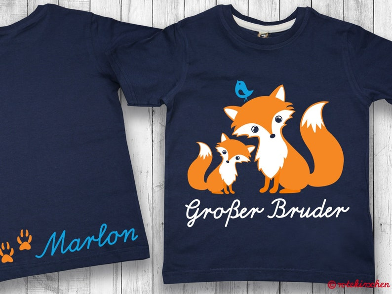 Big Brother T-shirt with foxes and names on request   Announcement  Pregnancy   Shirt Siblings   Gift for birth