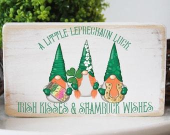 St. Patrick's day sign / leprechaun gnome mini wood sign / Irish kisses and shamrock wishes / modern farmhouse decor