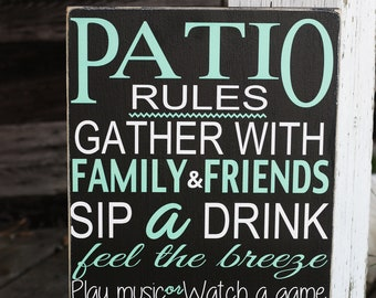 """Patio Sign / patio rules wall decor / patio rules sign 12x24"""" / outdoor wall art"""